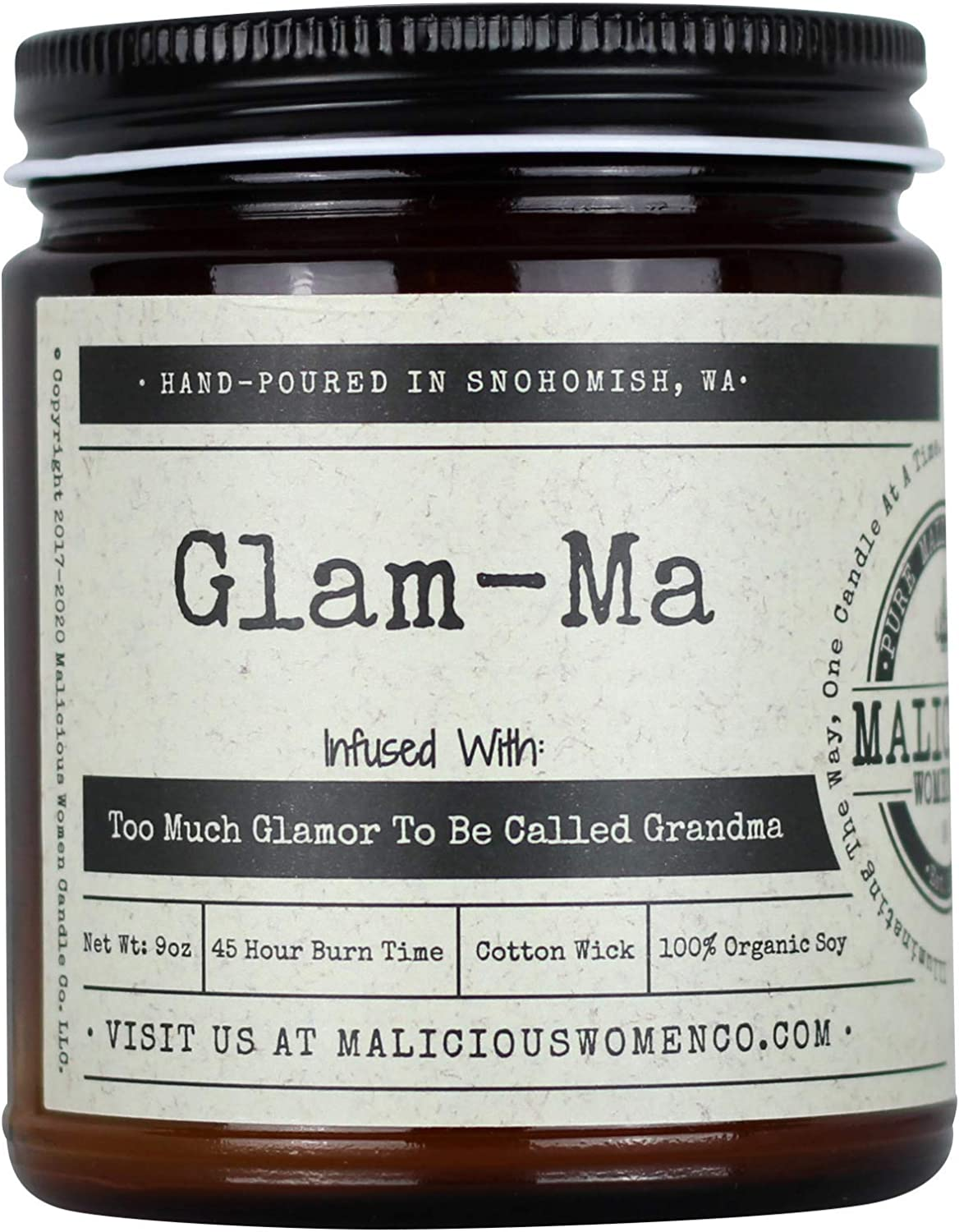 Malicious Women Candle Co - Glam-Ma, Rebel Rose Infused with Too Much Glamour to Be Called Grandma!, All-Natural Organic Soy Candle, 9 oz