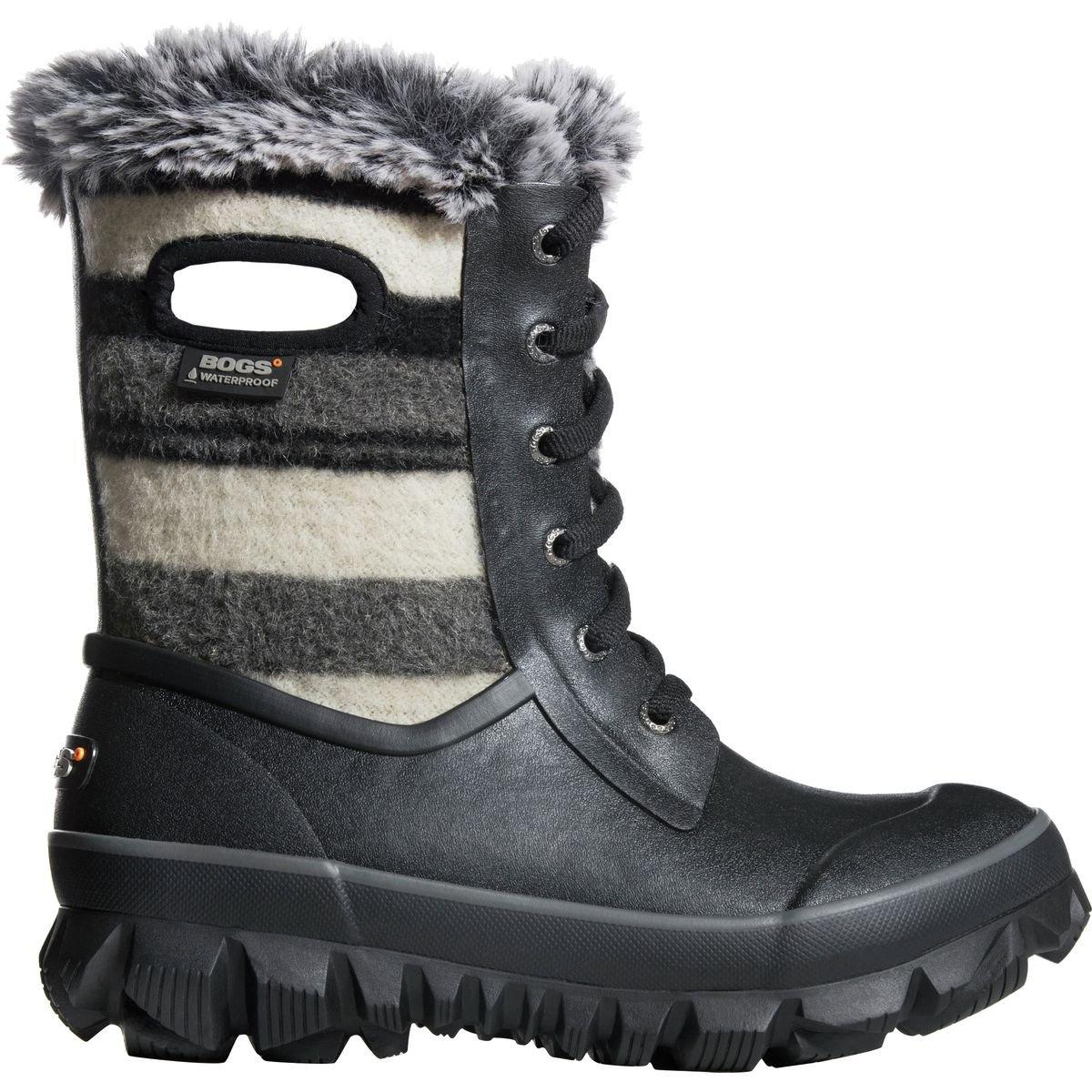 Bogs Womens Arcata Sripe Snow Boot Black Multi Size 11