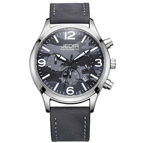 GuTe moderno cronómetro azul camuflaje urbano de punto de cuarzo reloj correa de reloj: Amazon.es: Relojes