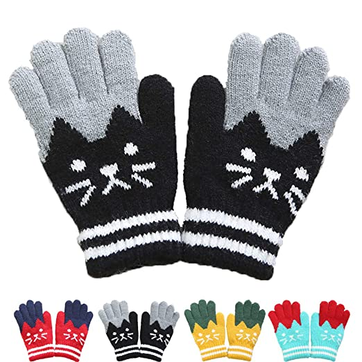 589c7dca6 Amazon.com  Kids Winter Mittens Boys Girls Warm Lined Knitted Gloves ...