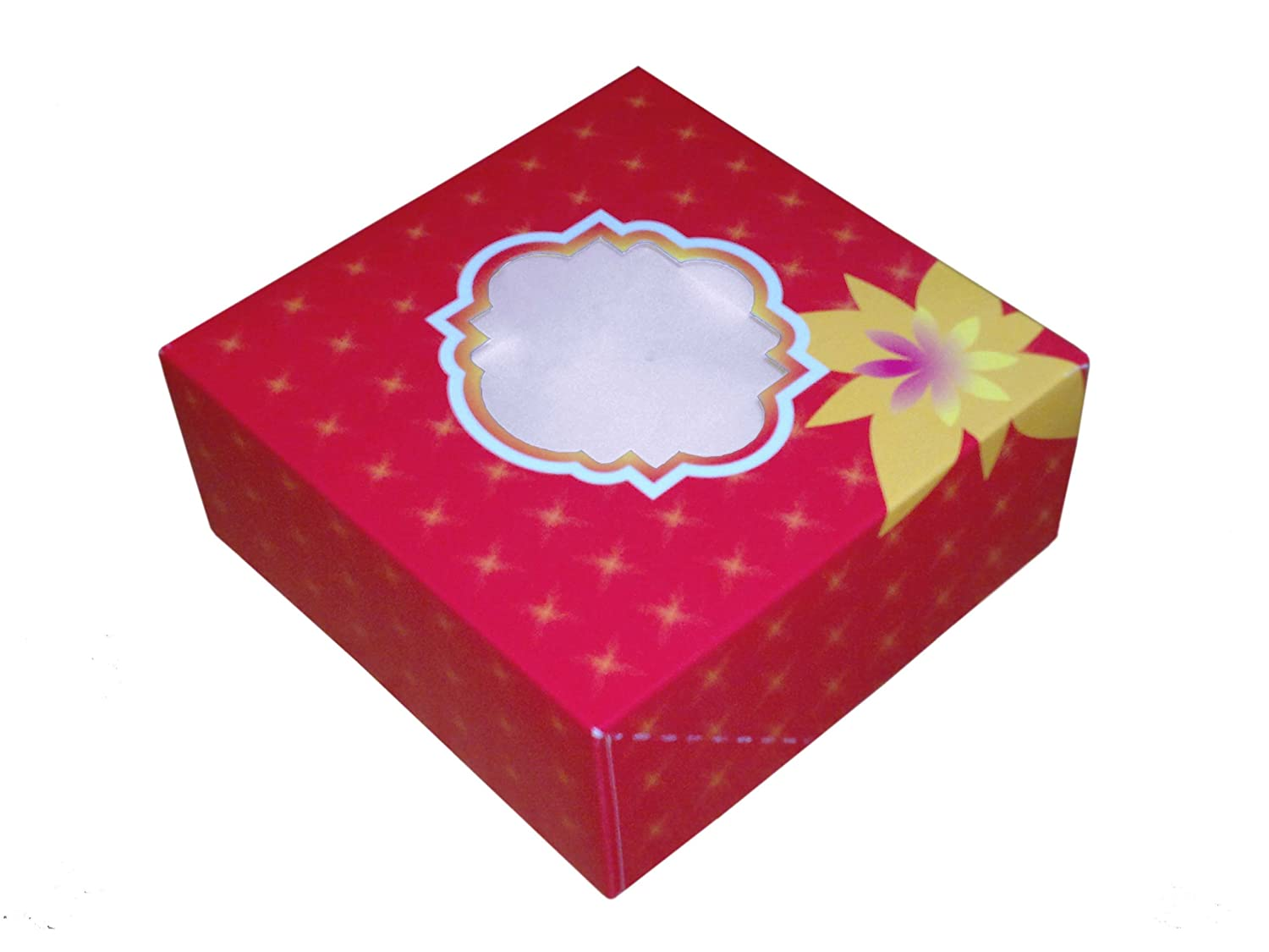 "50 Medium 7"" x 7"" x 3"" Red Cake Box with Window"