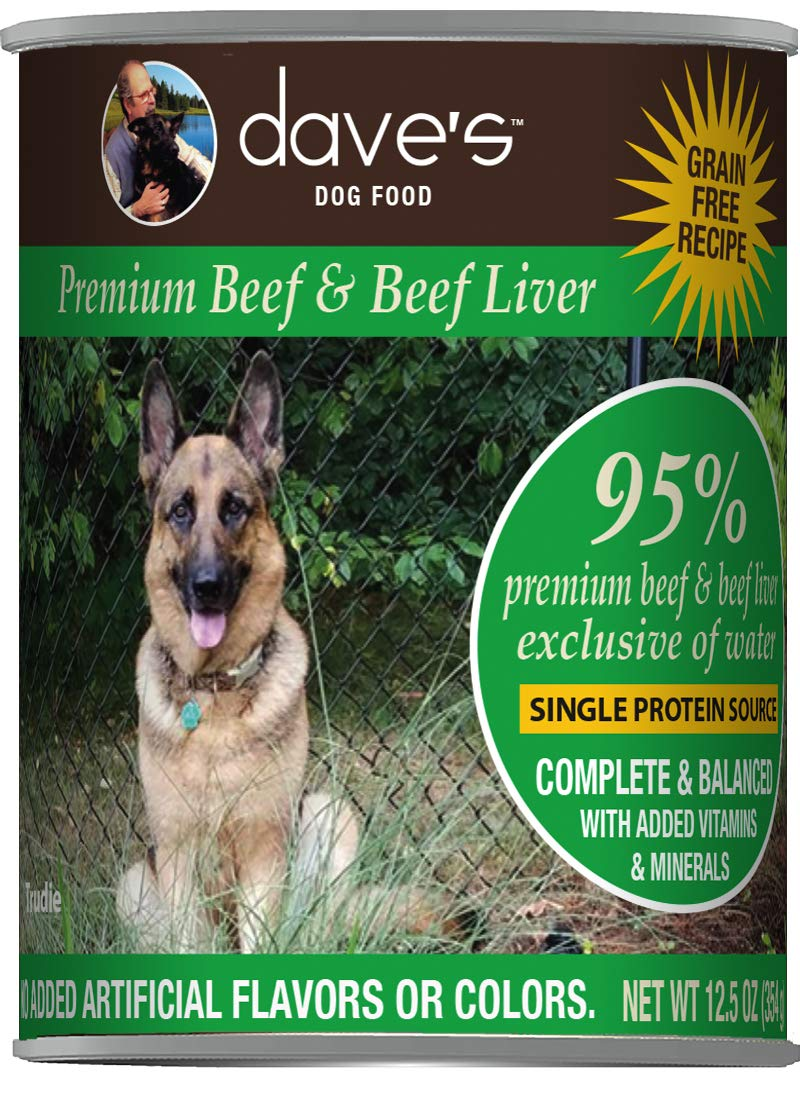 Dave's Pet Food Healthy & Grain Free Canned Dog Food for Weight Loss - 95% Beef & Beef Liver - 12Count of 13 oz Cans - Made in The USA by Dave's Pet Food