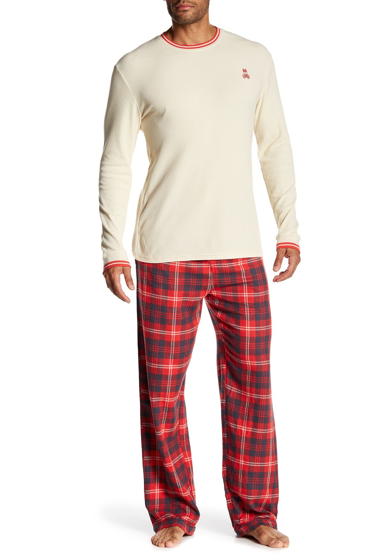 Psycho Bunny Lounge Gift Set (1 Flannel Pant, 1 Waffle Long Sleeve Crew Neck) (Small, Brilliant Red/Bone)
