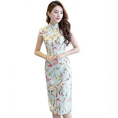 70bfd0e00 Smakke Women's Modern Qipao Faux Silk Traditional Dress Chinese Oriental  Dress Lace Cheongsam Long at Amazon Women's Clothing store: