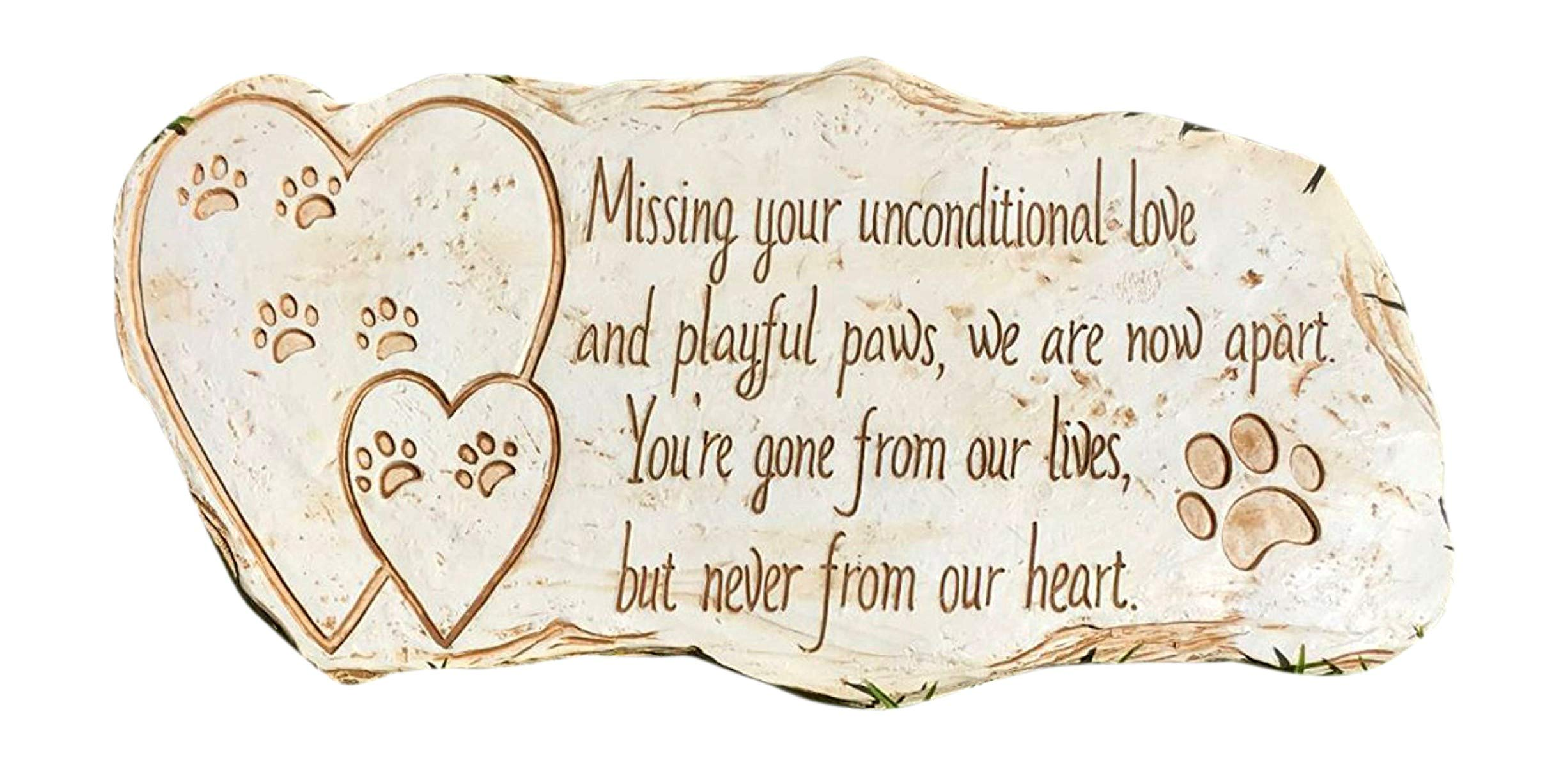 dog supplies online pawprints remembered pet memorial stone marker for dog or cat - for outdoor garden, backyard, or lawn. pet grave headstone tombstone - loss of pet gift - made of weatherproof resin