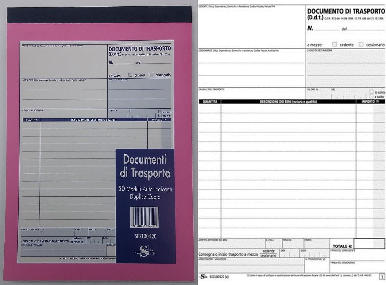 BLOCCO DOCUMENTI DI TRASPORTO 2 COPIE DDT 50 MODULI AUTORICALCANTI DUPLICE COPIA F.TO A5 21X15 SEMPER Novidea