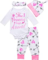 FocusNORM 4 pcs Baby Girls Pants Set, Newborn Infant Toddler Letter Romper Arrow Heart Pants Hats Headband Clothes Set