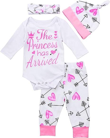 c96c4bd42c4669 4 pcs Baby Girls Pants Set Newborn Infant Toddler Letter Romper Arrow Heart  Pants Hats Headband