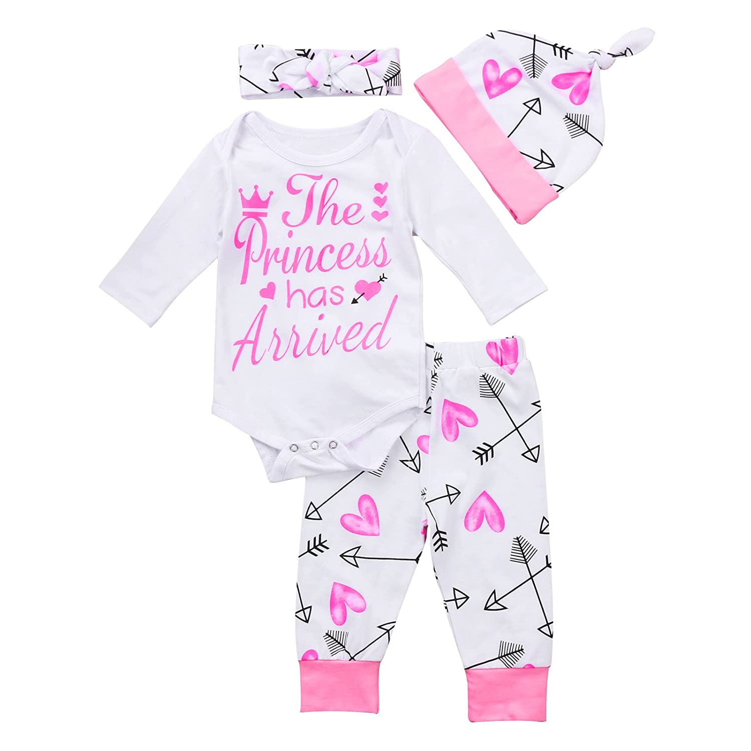 4 pcs Baby Girls Pants Set Newborn Infant Toddler Letter Romper Arrow Heart Pants Hats Headband Clothes