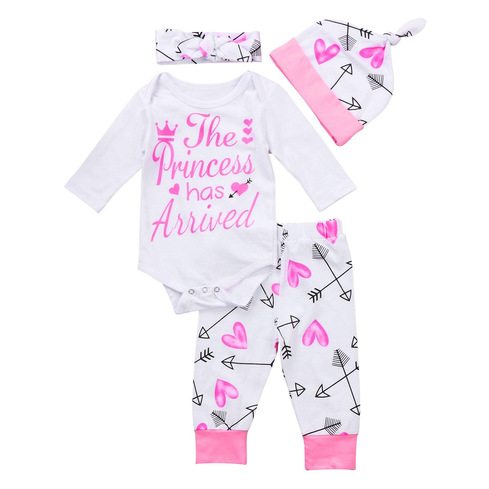 4 pcs Baby Girls Pants Set Newborn Infant Toddler Letter Romper Arrow Heart Pants Hats Headband Clothes (0-6 Months, Pink)
