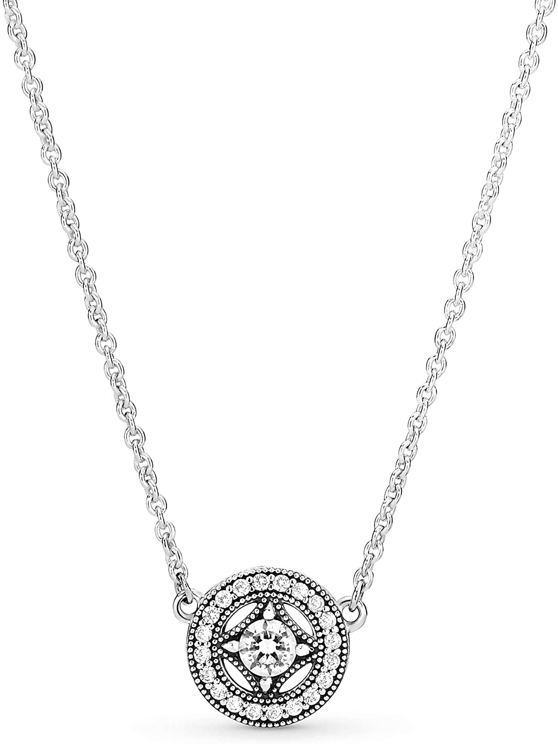 Pandora Jewelry Vintage Circle Collier Silver Chain Cubic Zirconia Necklace  in Sterling Silver, 17.7