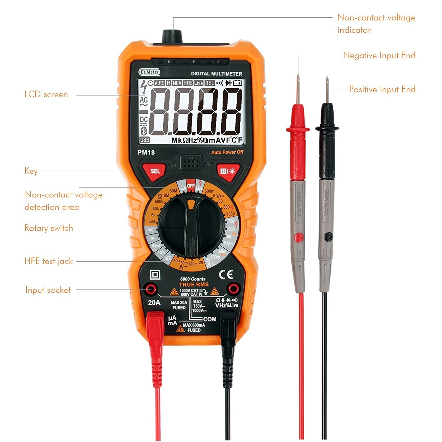 [Digital Multimeters] Dr.meter Digital Multimeter Trms 6000 Counts Tester Non-Contact Voltage Detection Multi Meter, PM18 by Dr.meter (Image #3)