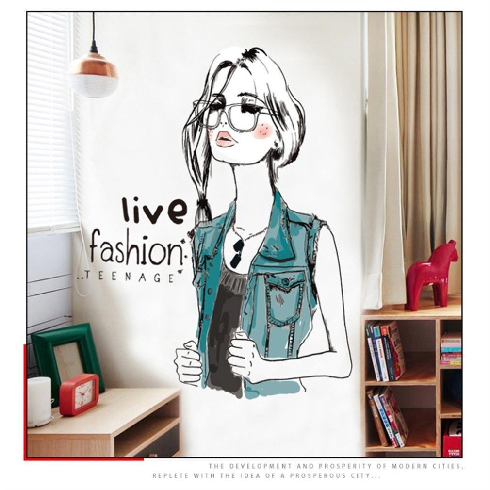 SOMESUN Mode Fille Peinture Stickers Muraux Chambre Salon /Étude Office Autocollant D/écoration de Maison Mural Autocollant de Papier Mural # 1