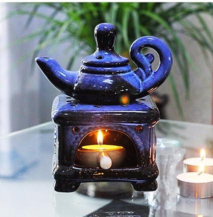 ZMINGM Horno de cerámica Aromaterapia velas perfumadas suministros Incienceros Aroma Portavelas estufa,horno Negro Azul