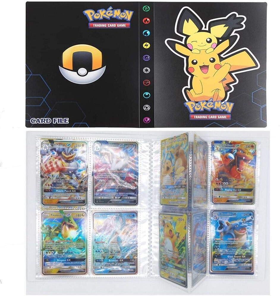 SunAurora Tarjetero Pokémon, Pokemon Album Cartas,30 páginas - Puede Contener hasta 240 Tarjetas (Dark Pikachu)