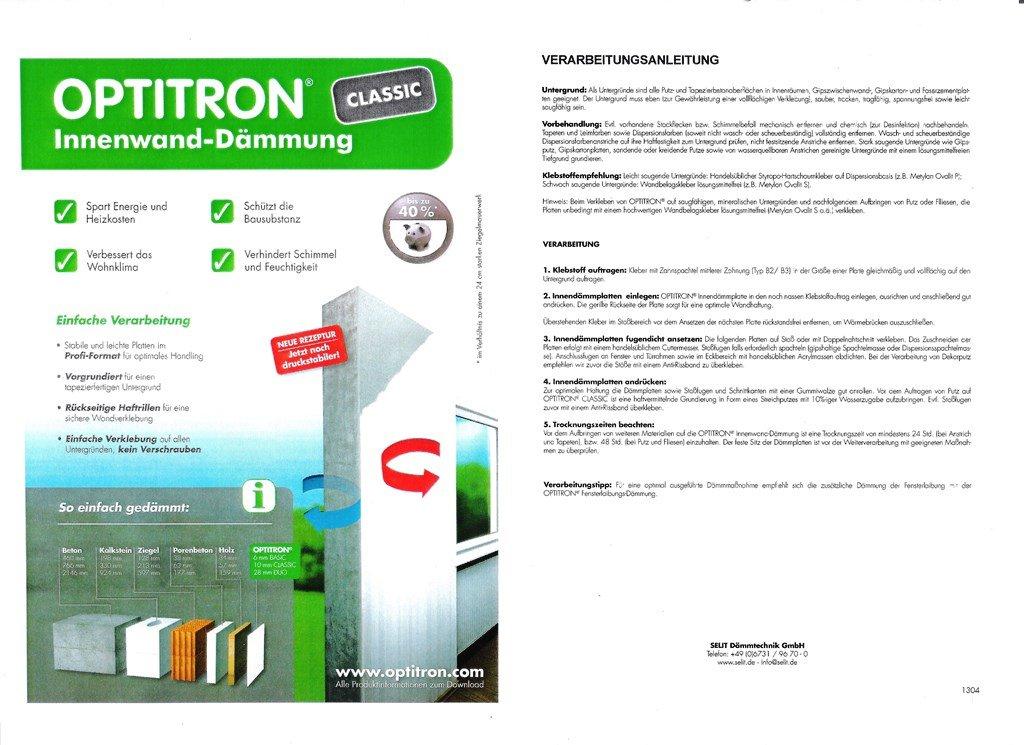 Innenwand Dämmung OPTITRON ® CLASSIC Von Selit, 10 Mm; 12 M² / Karton:  Amazon.de: Baumarkt