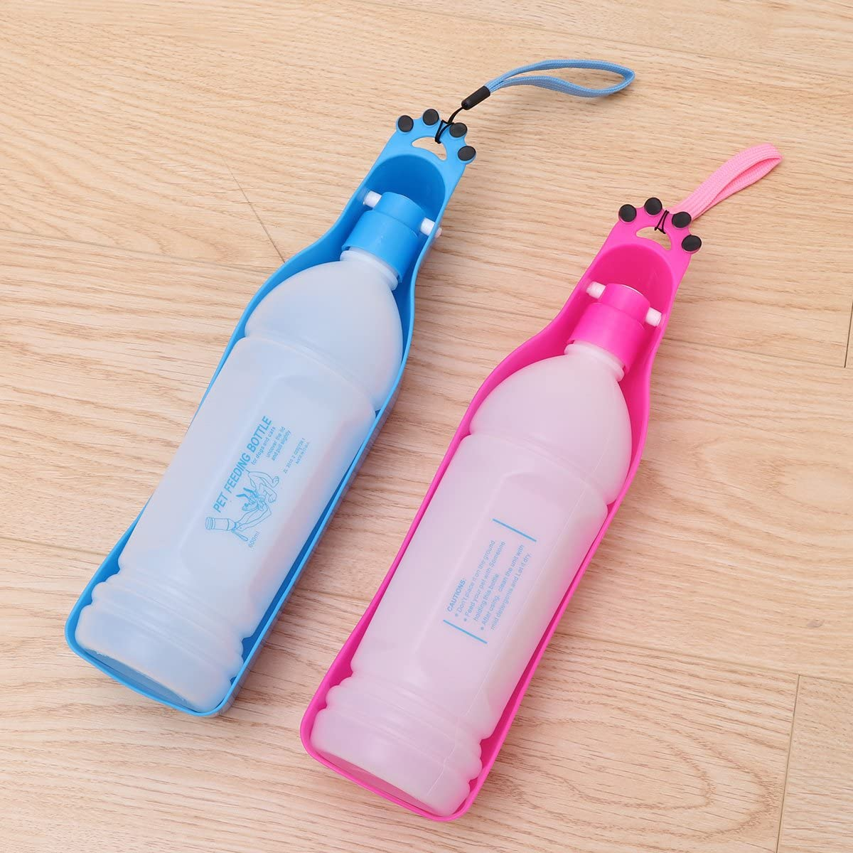 Pink POPETPOP Pet Water Bottle Folding Travel Drinking Bottle Kettle Dog Water Dispenser 600ml