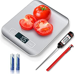 Food Digital Kitchen Scale with Meat Thermometer Instant Read, Food Scale Measures in Grams and oz for Cooking Baking, 1g/0.1oz Precise Graduation, Coffee Scales Grams Calculator