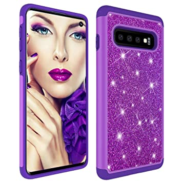Galaxy S10 Plus Case,Samsung S10 Plus Glitter Case,Luxury Glitter Sparkle Bling Case,Hybrid PC Silicone Faux Leather Cover,Dual Layer Armor Protective Phone Case for Samsung Galaxy S10 Plus Pink