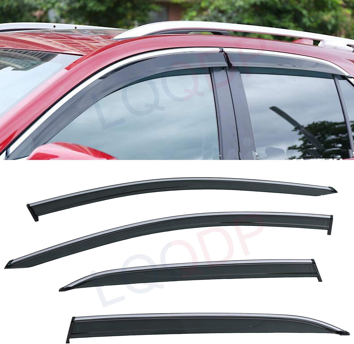 LQQDP 4pcs Smoke Tint With Chrome Trim Outside Mount Tape On//Clip On Style PVC Sun Rain Guard Vent Window Visors Fit 18-20 Chevy Equinox