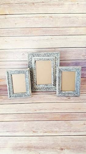 Amazon.com: Set of 3 Antique White Ornate Picture Frames: Handmade
