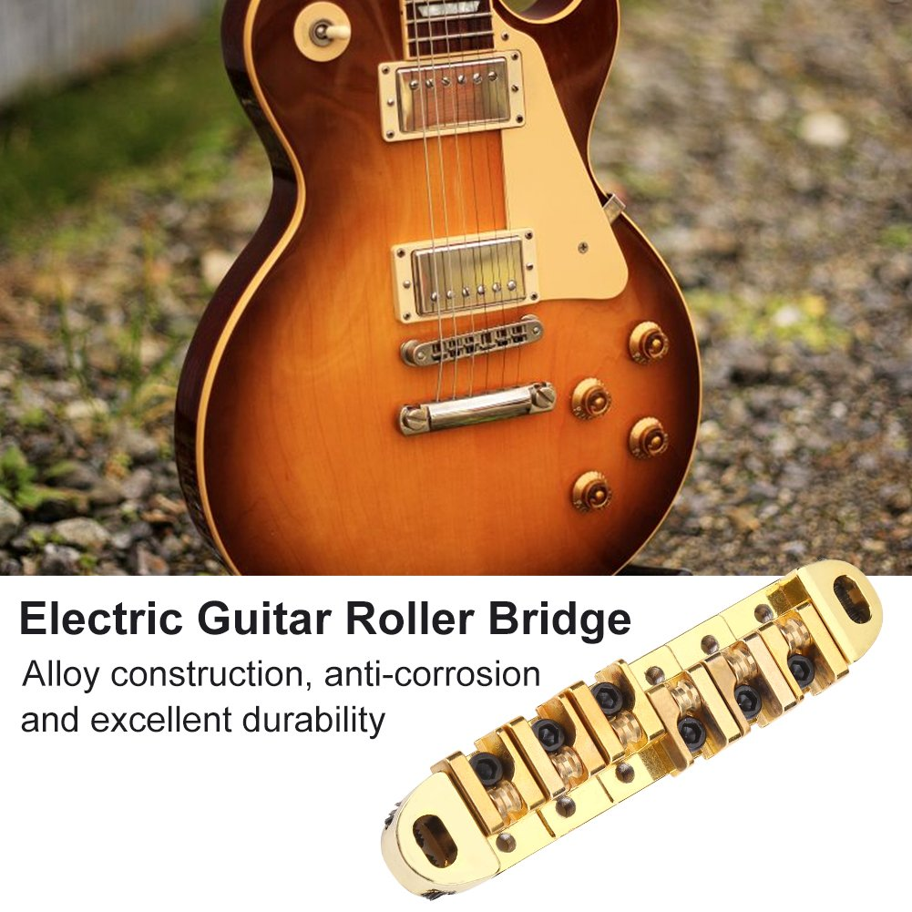 Alomejor Chitarra Roller Bridge con Borchie Chiave di Ricambio per Chitarra Elettrica LP Style 6 Corde