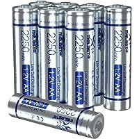 melasta Pilas AA Recargables NiMH, Un Juego de 8 Baterías (1200 ciclos, 1.2v, 2250mAh/ mínimo 2130mAh, precargadas) - Baja autodescargase
