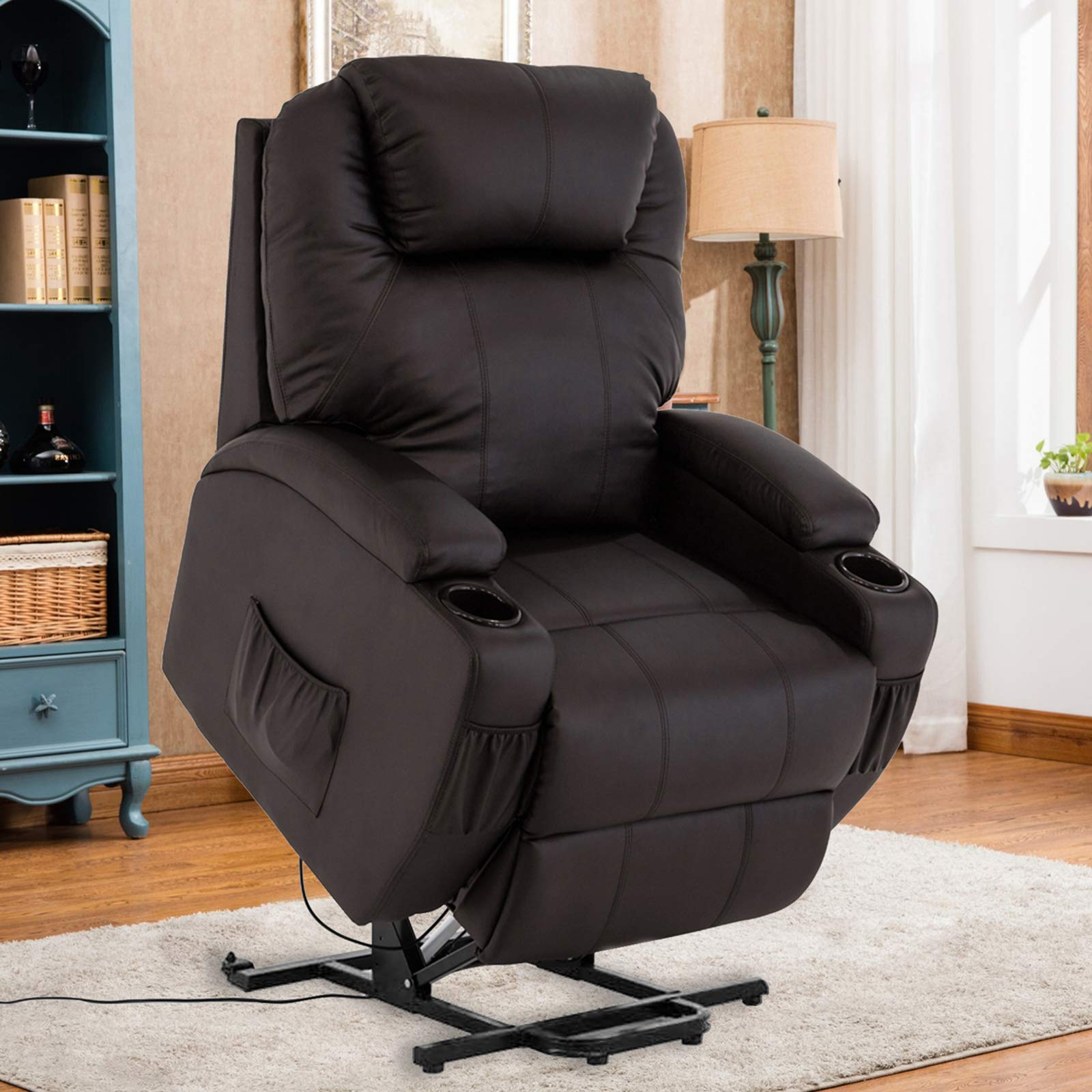 Mecor Lift Chair for Elderly Power Lift Recliner Chair Bonded Leather Electric Lifting Chair with Remote Control/Cup Holders/Reinforced Heavy Duty Reclining Mechanism for Living Room (Brown) by mecor