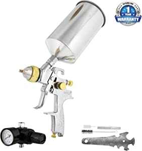 TCP Global® Brand Professional 1.3mm HVLP Spray Gun-gravity Feed-auto Paint Basecoat Clearcoat with Air Regulator (G6600-13)