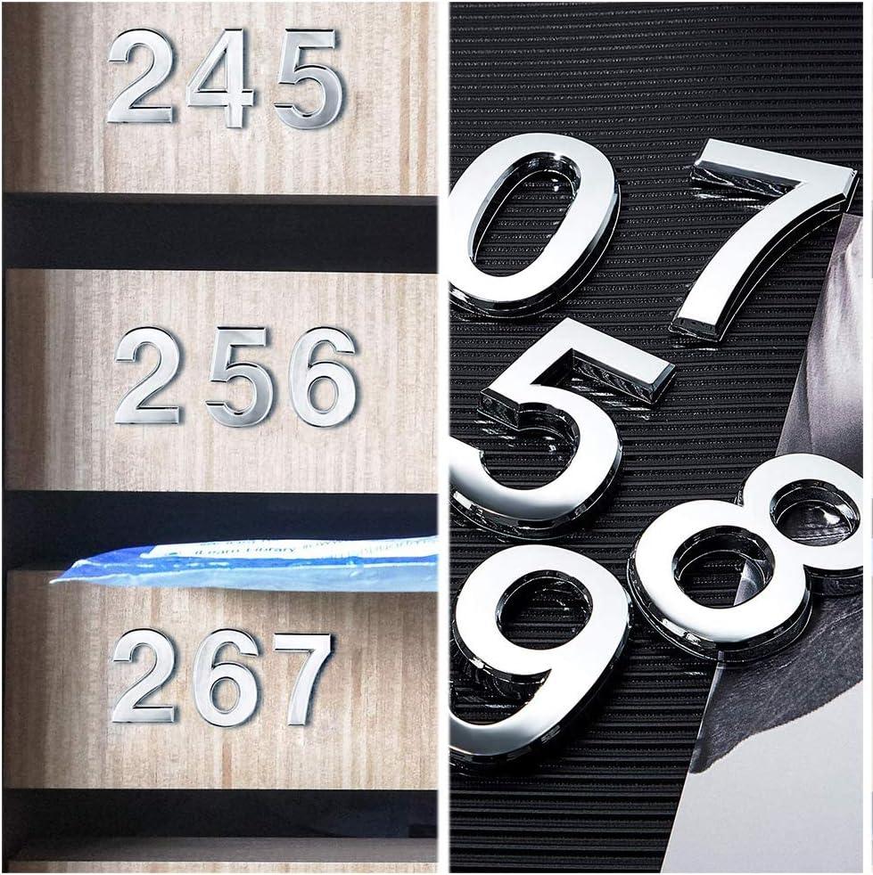 2 pulgadas plateado brillante pegatinas para n/úmeros de puerta 9 proceso de chapado en metal n/úmeros de direcci/ón n/úmeros de casa 0 N/úmeros de buz/ón