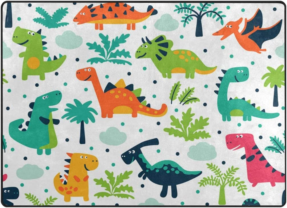 1.7 x 2.6 ft Naanle Cartoon Dinosaur Non Slip Area Rug for Living Dinning Room Bedroom Kitchen Animal Dinosaur Nursery Rug Floor Carpet Yoga Mat 50 x 80 cm