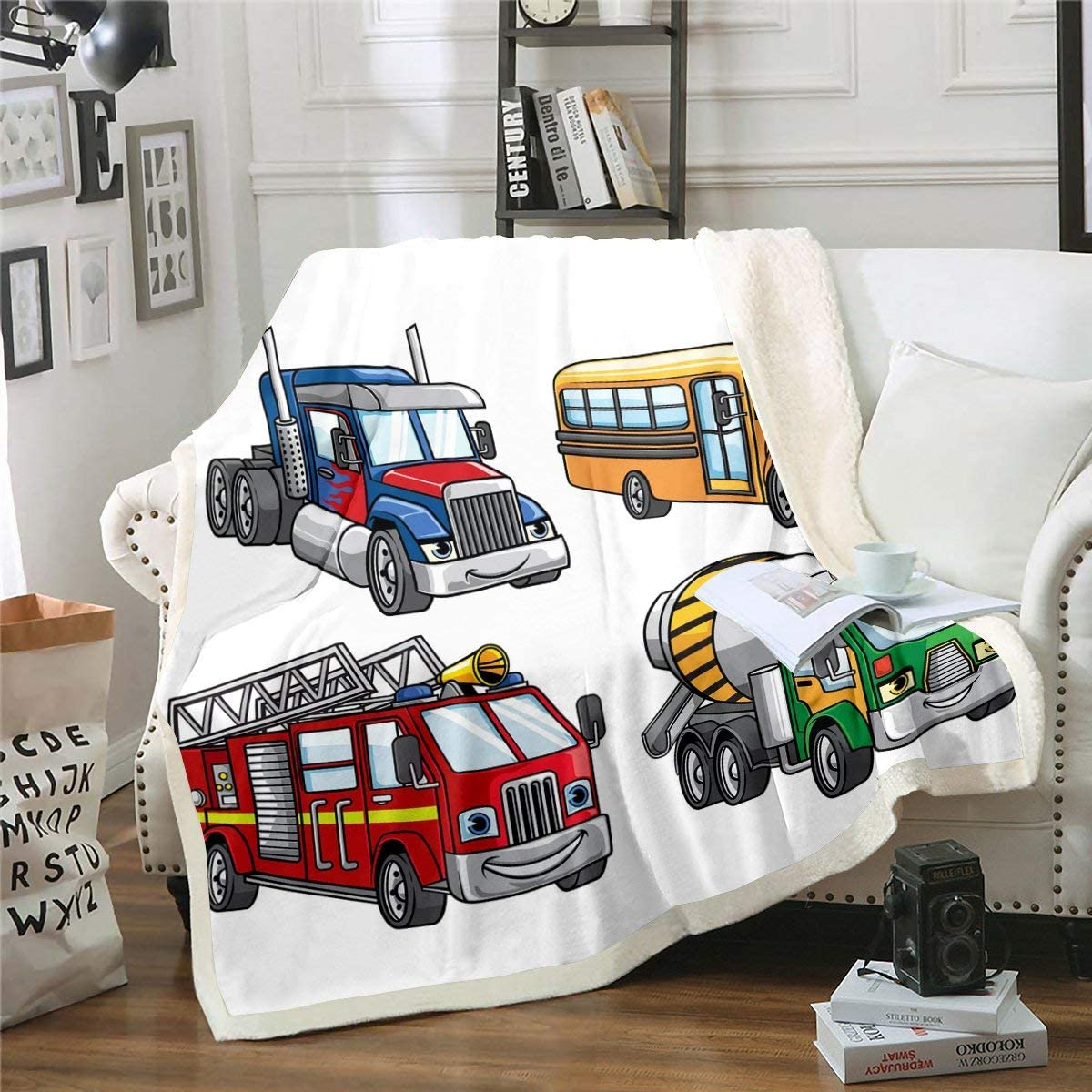 Under Construction Fleece Blanket Cartoon Fire Truck Sherpa Blanket School Bus Blanket Throw For Kids Boys Blender Truck Equipment Vehicle Fuzzy Blanket Child Dorm Decor Throw 50