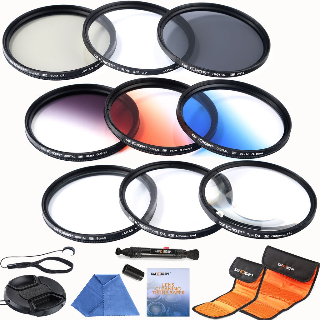K&F Concept 62mm Filter Kit for Sigma 18-200mm f/3.5-6.3 II DC 18-250mm 70-300mm 28-300mm 18-125mm Lens-Includes(UV CPL ND4)+Slim Graduated Color Filter(Orange Blue Grey)+Macro Close up +4 +10 +Point Star 6 Filters + Cleaning Pen + Cleaing Paper + Cleaning