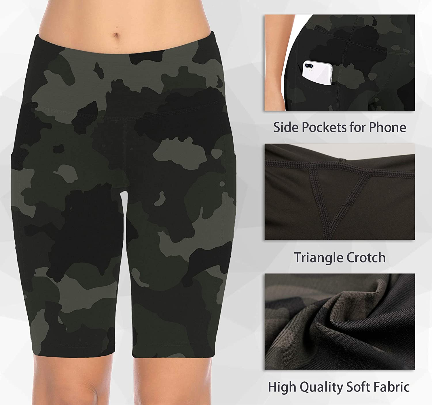 8 Inseam MAVOUR COUTURE High Waist Out Pockets Workout Shorts Super Stretch/Non See-Through Yoga Shorts for Bike