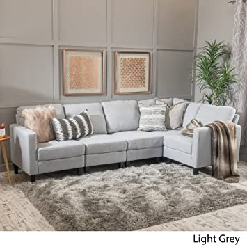 Zahra 5 Piece Fabric Sofa Sectional L Shaped Living Room Right Left