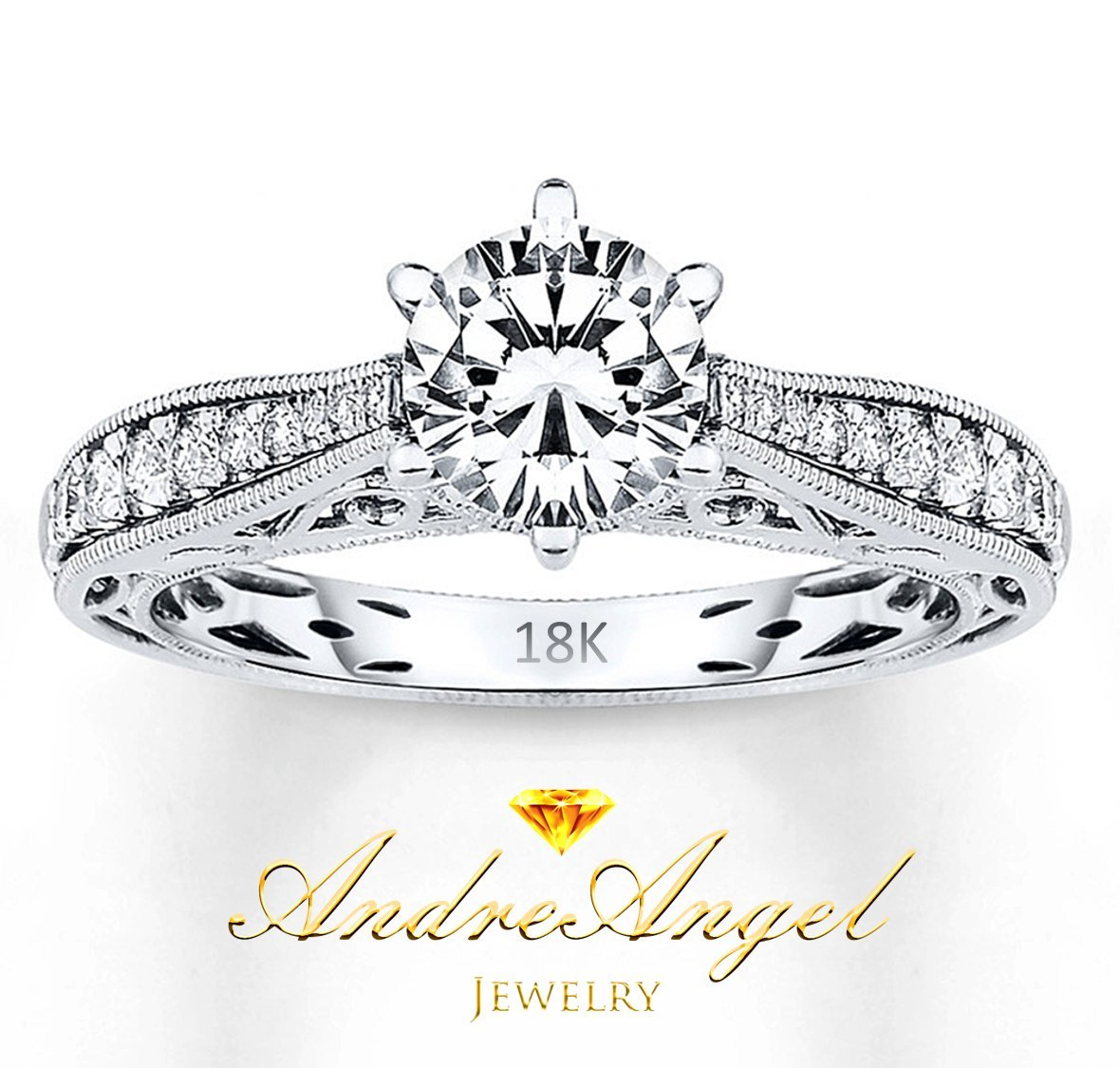 AndreAngel Women Ring White Gold 18K Princess Cut/Lab Diamond 6 mm Carat Cubic Zirconia AAA+/Bridal Birthday Dating Gift Anniversary Promise Engagement or Wedding Mother's Day (6) by AndreAngel (Image #6)