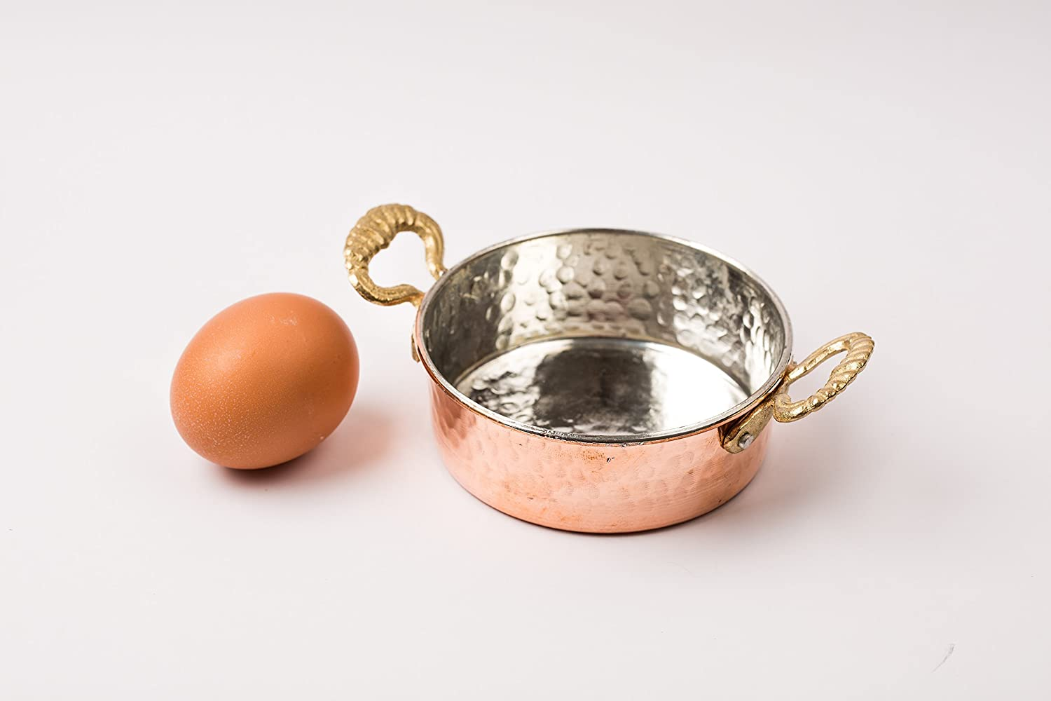 Turkish Traditional Copper Saucepan With Brass Handle Set of 2