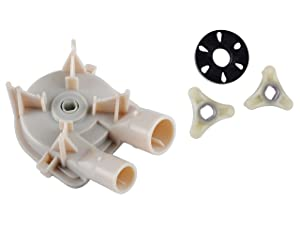 Podoy 3363394 Washer Drain Pump for Whirlpool Kenmore with 285753A Washer Motor Coupler Estate Roper KitchenAid Replaces 3352492 3348215 3348014 3363394 3348015 WP3363394 AP6008107