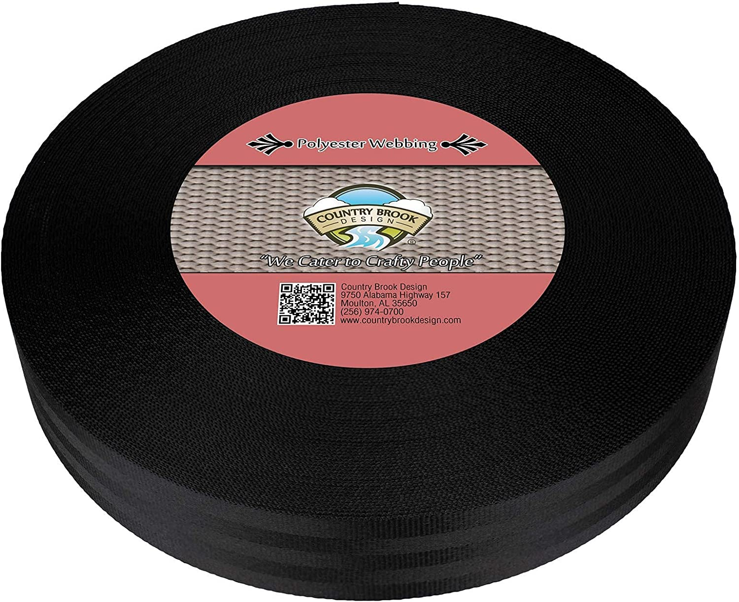 Country Brook Design - 2 Inch Black Polyester Webbing, 10 Yards