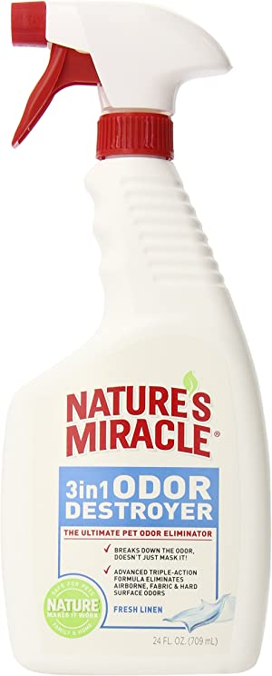 Nature's Miracle P-5452 3-in-1 Odor Destroyer, Fresh Linen Scent, 24-Ounce