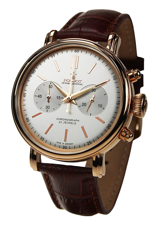 POLJOT Int. Chronograph Classic Mechanische Russische Uhr Lederband Braun Vergoldet