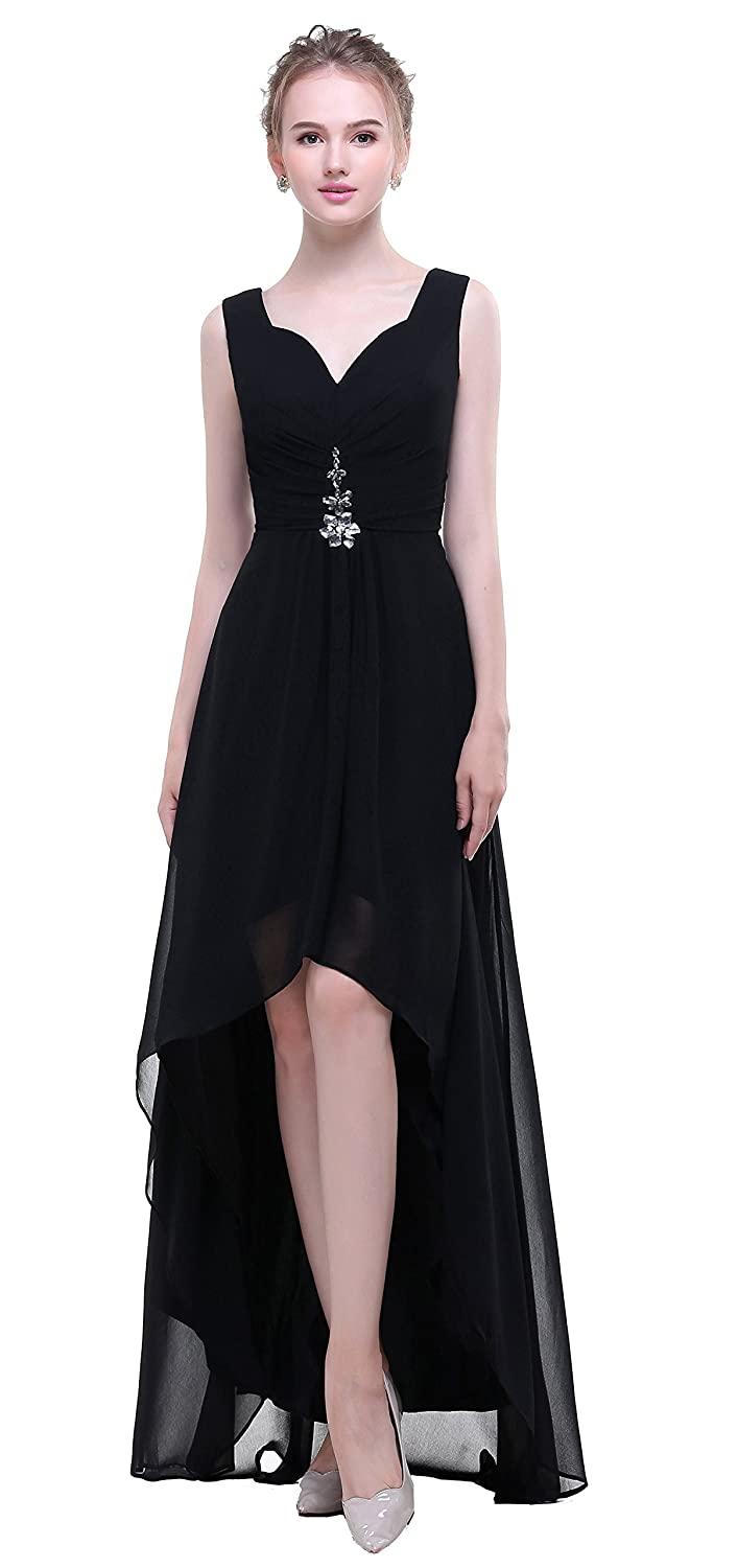 862598ce0153a ... you order your dress, please check left size image, not size Amazon  info link. Soft chiffon. Fully lined, built-in bra in the bodice. V-neck,  High Low ...