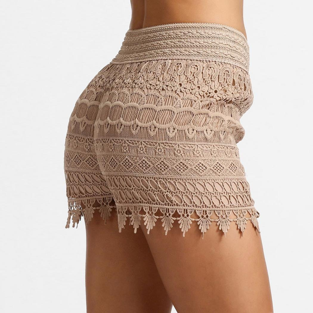 RETUROM-pantalones cortos /♥-/♥-/♥-Pantalones Cortos para Mujer Mujeres 2018 de Las Mujeres Pantalones Cortos de Encaje de Cintura Alta Pantalones Cortos de Playa