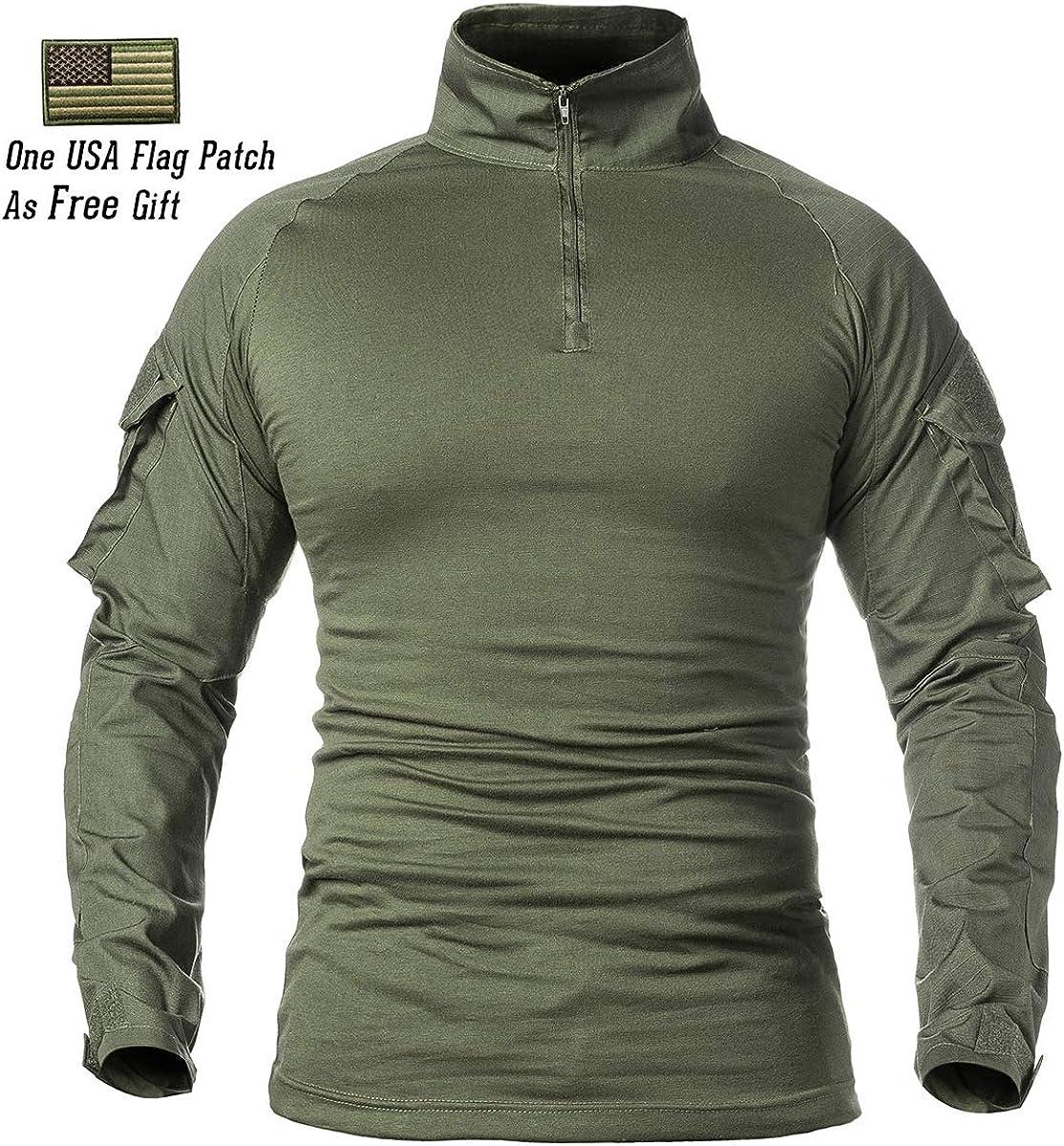 ReFire Gear Mens Military Tactical Army Combat Long//Short Sleeve Shirt Slim Fit Camo T-Shirt with 1//4 Zipper