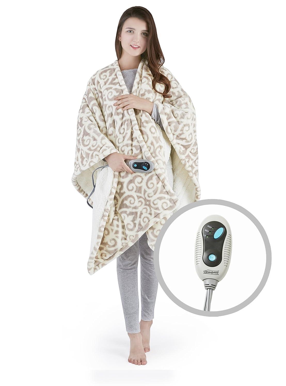 "Beautyrest Ultra Soft Sherpa Berber Fleece Electric Poncho Wrap Blanket Heated Throw with Auto Shutoff, 50"" W x 64"" L, Grey Lattice"
