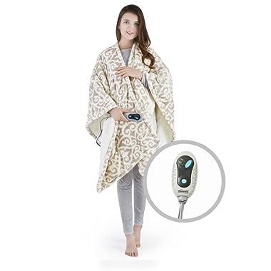 Beautyrest Ultra Soft Sherpa Berber Fleece Electric Poncho Wrap Blanket Heated Throw with Auto Shutoff, 50  W x 64  L, Grey Lattice