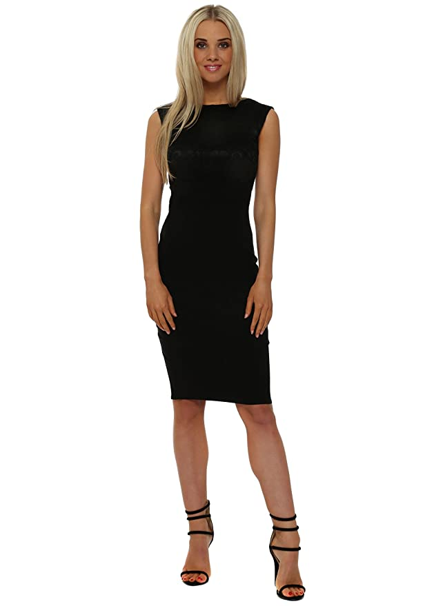 20f758ccaa65b3 Goddess London Black Lace Bodice Sleeveless Pencil Dress UK 14 Black   Amazon.co.uk  Clothing
