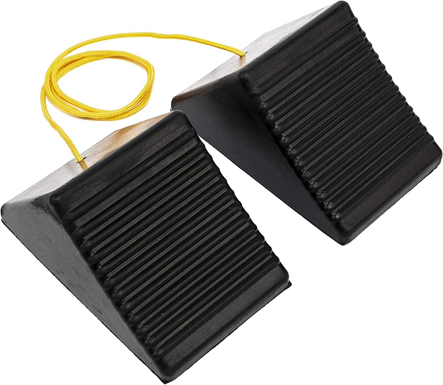 """MaxxHaul 50012 Rubber Wheel Chock with Rope - 8"""" x 5"""" x 4"""" - 2 Pack,"""