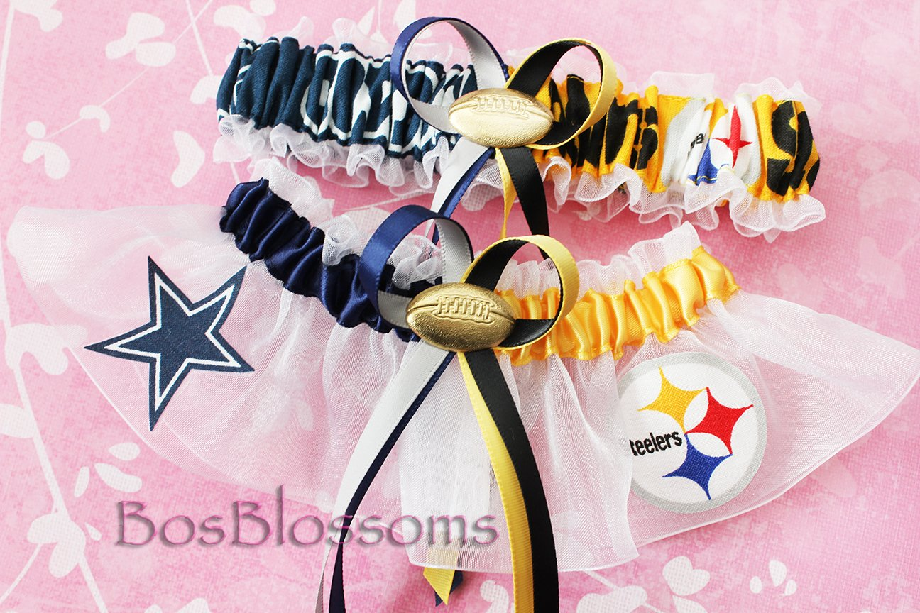 Customizable - Pick your teams - Handmade double team garters - house divided sports wedding garter set