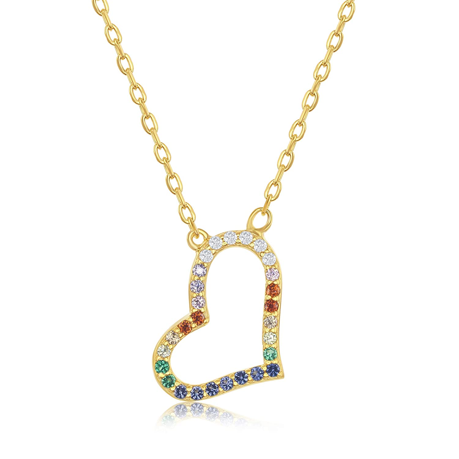Sterling Silver//Gold Plated 16+2 Rainbow Cubic Zirconia Sideways Heart Necklace